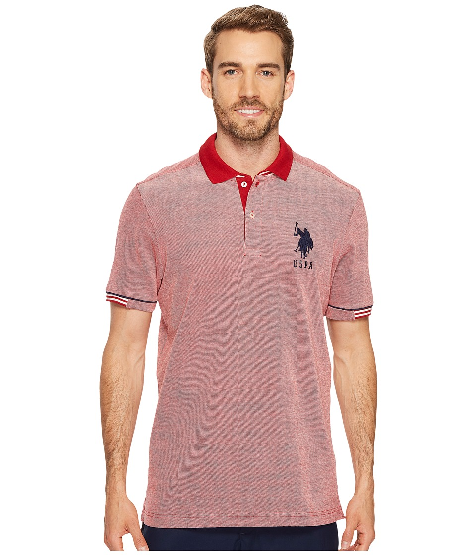 U.S. POLO ASSN. - Classic Fit Color Block Short Sleeve Pique Polo Shirt (Apple Cinnamon) Men's Short Sleeve Pullover