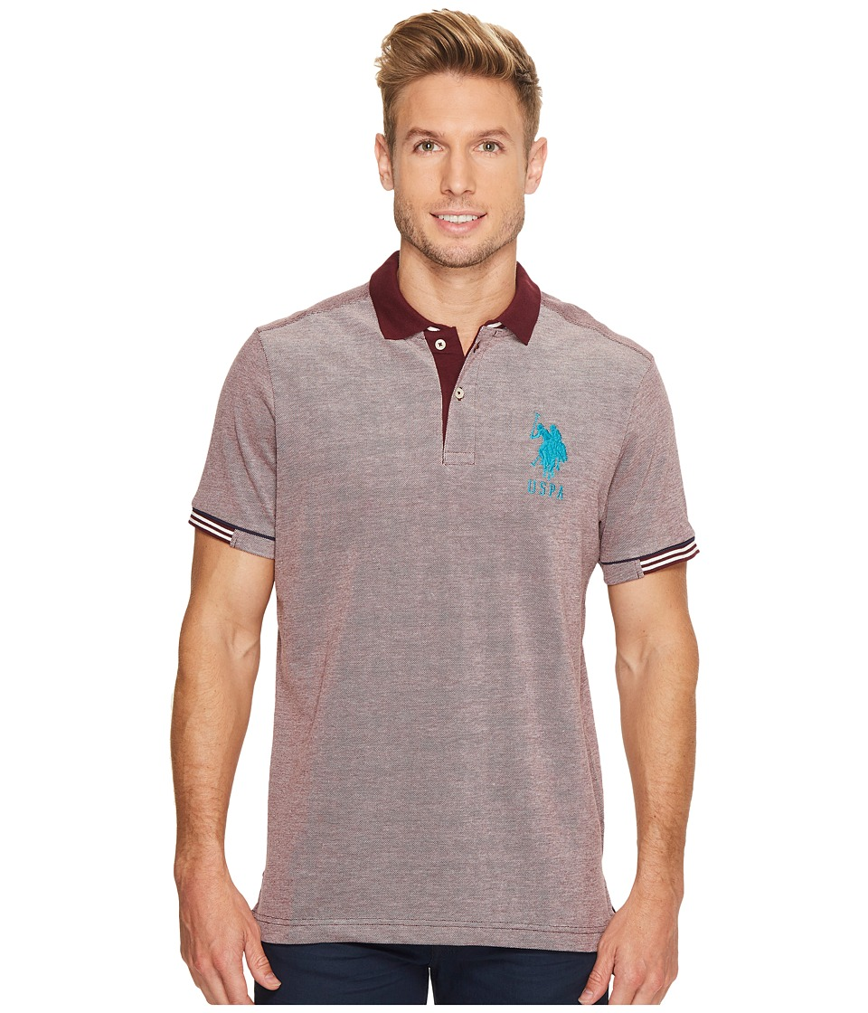 U.S. POLO ASSN. - Classic Fit Color Block Short Sleeve Pique Polo Shirt (Autumn Wine) Men's Short Sleeve Pullover