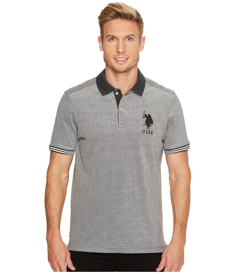 U.S. POLO ASSN. - Classic Fit Color Block Short Sleeve Pique Polo Shirt (Campfire Coal) Men's Short Sleeve Pullover