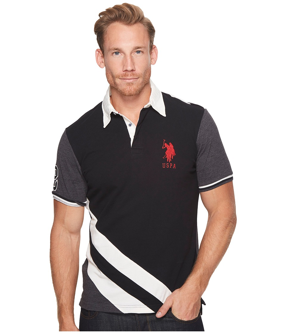 U.S. POLO ASSN. - Classic Fit Color Block Short Sleeve Pique Polo Shirt (Black) Men's Short Sleeve Pullover