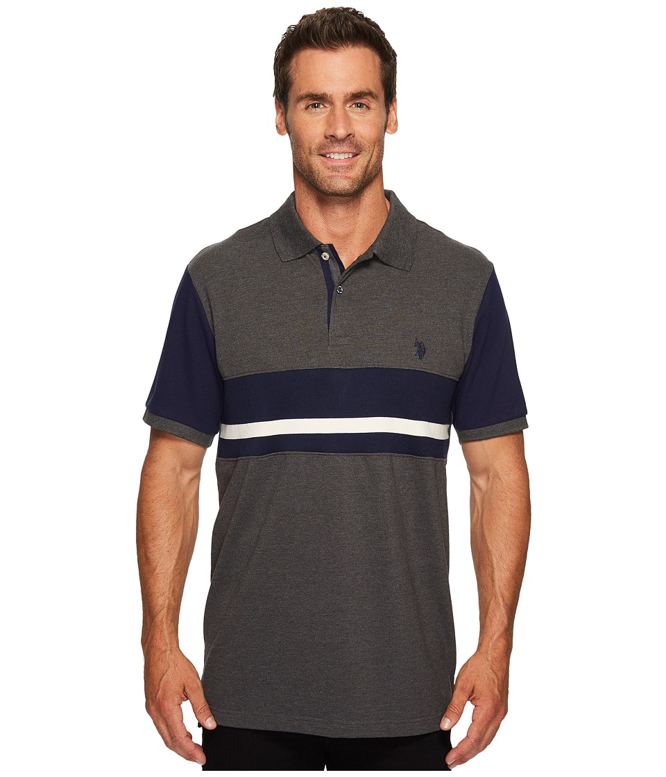 U.S. POLO ASSN. - Classic Fit Color Block Short Sleeve Pique Polo Shirt (Dark Heather Grey) Men's Short Sleeve Pullover