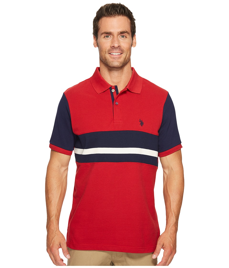 U.S. POLO ASSN. Classic Fit Color Block Short Sleeve Pique Polo Shirt (Apple Cinnamon) Men