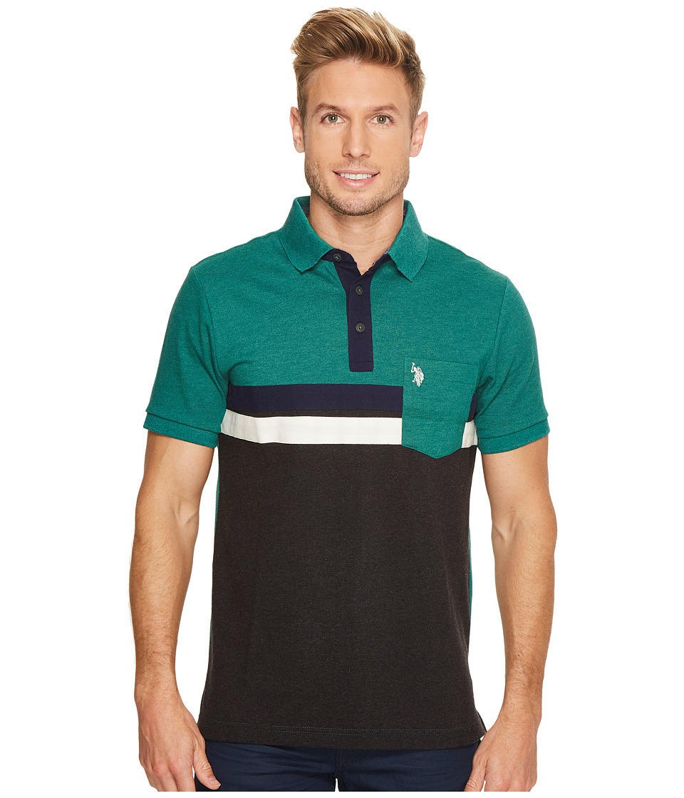 U.S. POLO ASSN. - Classic Fit Color Block Short Sleeve Pique Polo Shirt (Peacock Heather) Men's Short Sleeve Pullover