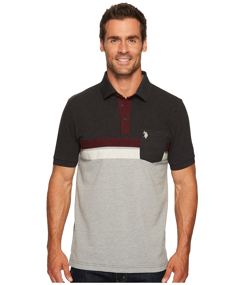 U.S. POLO ASSN. - Classic Fit Color Block Short Sleeve Pique Polo Shirt (Black Heather) Men's Short Sleeve Pullover