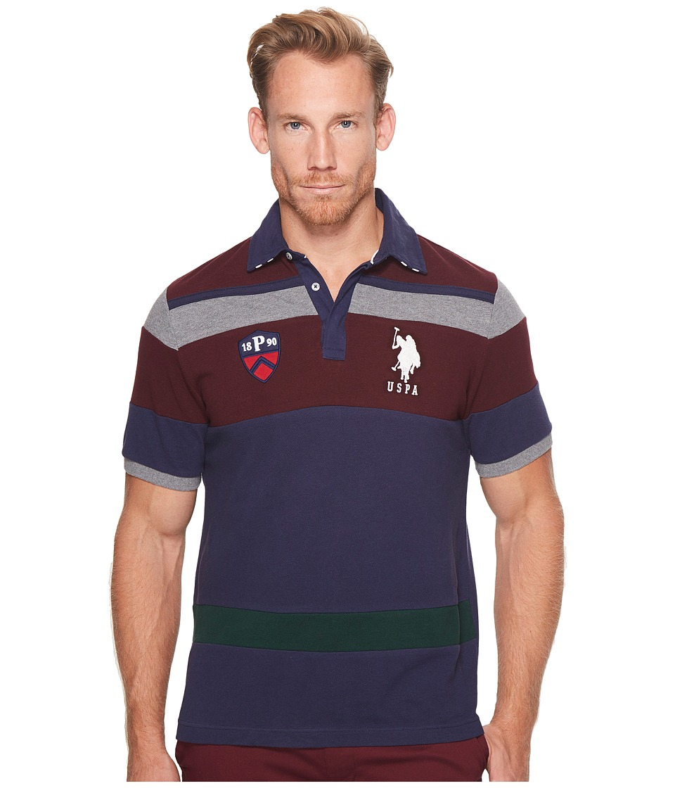 U.S. POLO ASSN. Classic Fit Color Block Short Sleeve Pique Polo Shirt (Classic Navy) Men