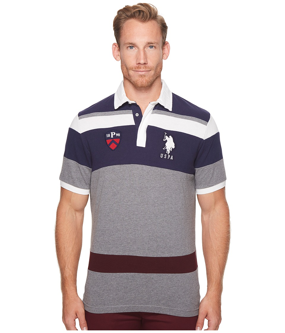 U.S. POLO ASSN. Classic Fit Color Block Short Sleeve Pique Polo Shirt (Campus Heather Grey) Men
