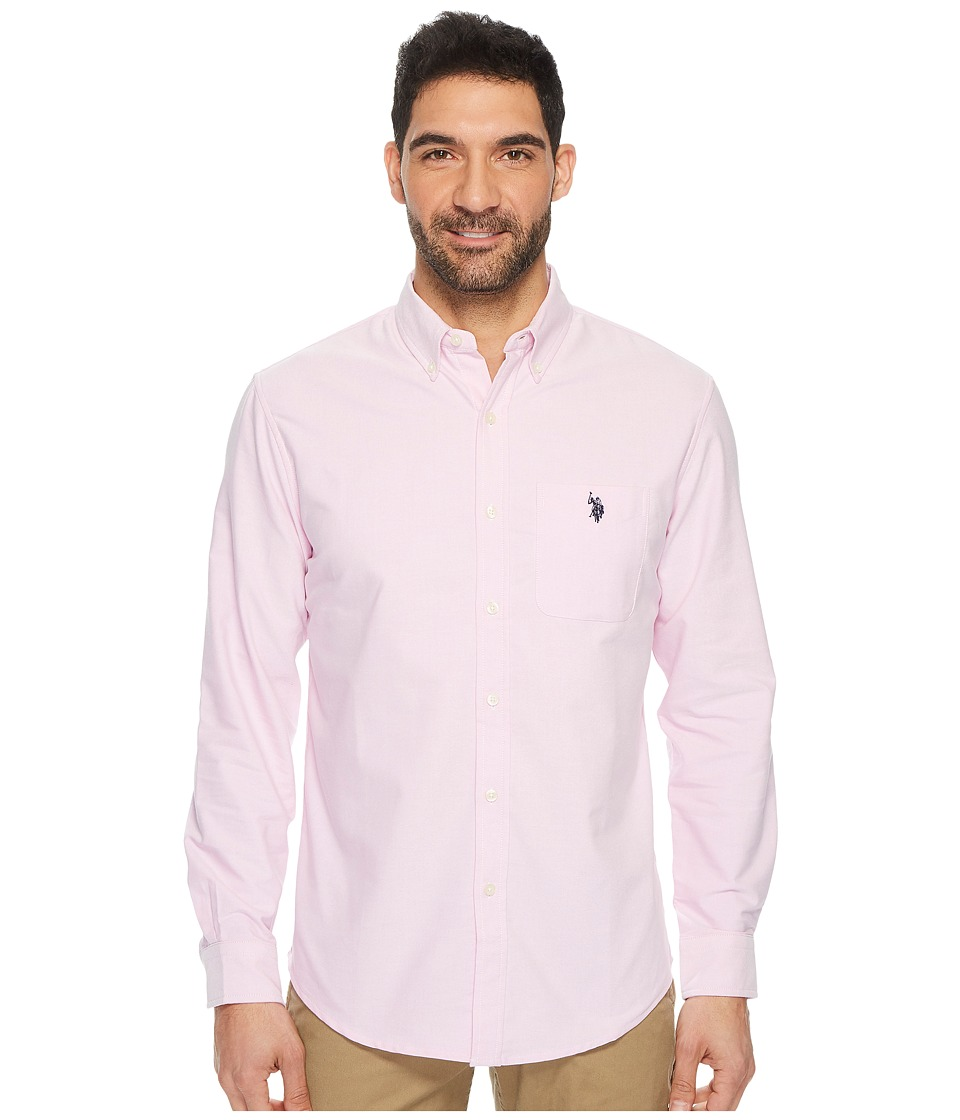 U.S. POLO ASSN. - Classic Fit Long Sleeve Sport Shirt (Light Pink Oxford) Men's Clothing