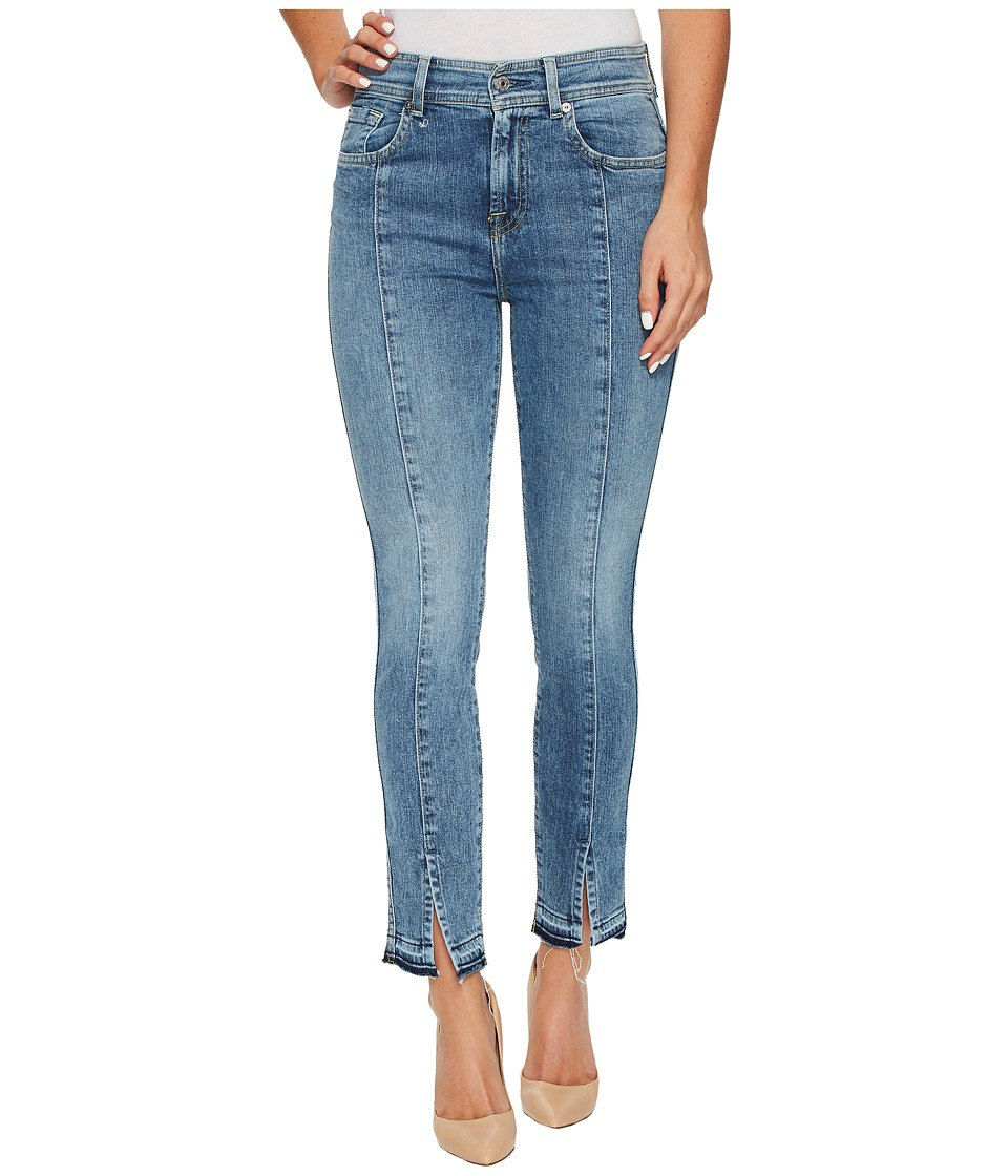 7 For All Mankind - The Ankle Skinny w/ Seams Front Splits in Rockaway Beach (Rockaway Beach) Women's Jeans