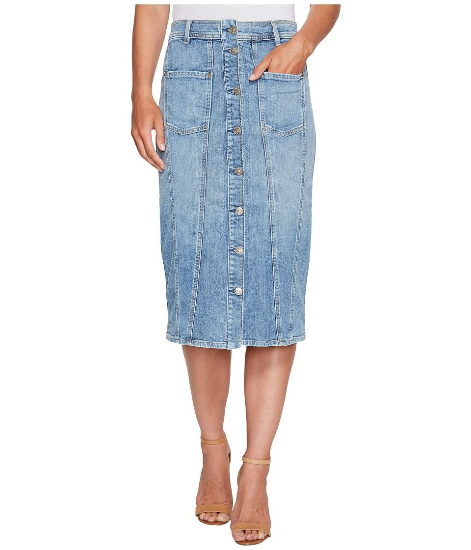 7 For All Mankind - Button Front Pieced Skirt in Rockaway Beach 2 (Rockaway Beach 2) Women's Skirt