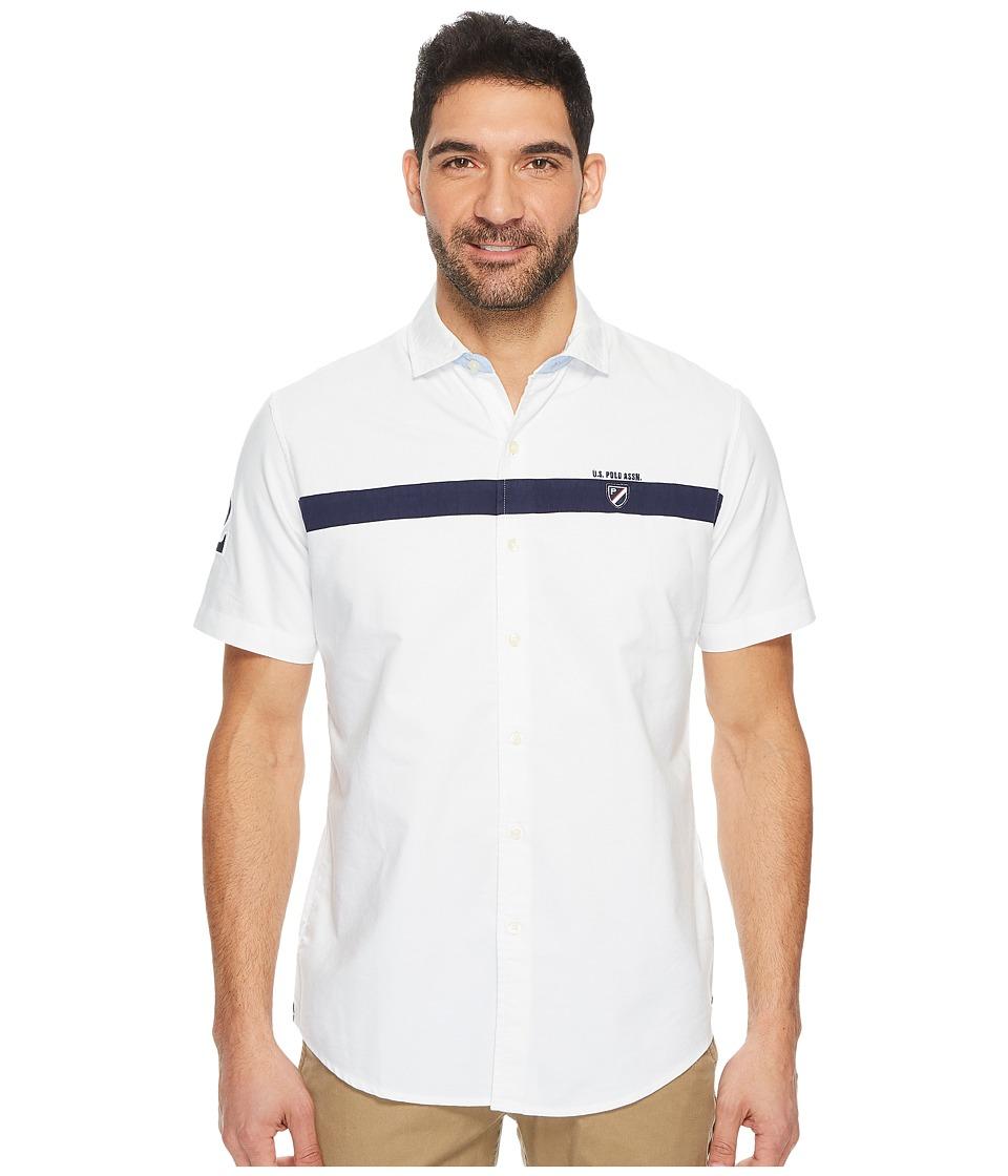 U.S. POLO ASSN. Classic Fit Short Sleeve Sport Shirt (Optic White) Men