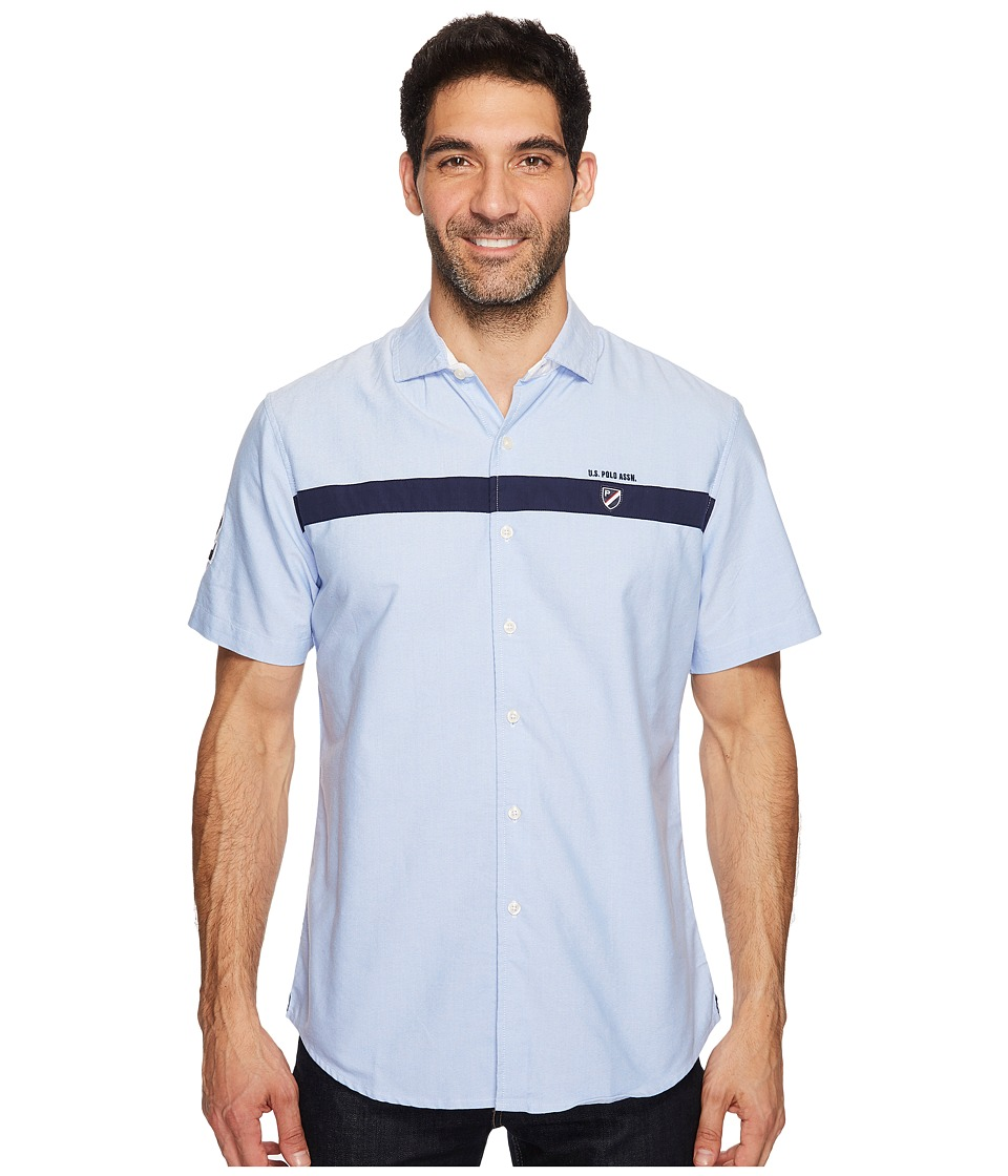 U.S. POLO ASSN. - Classic Fit Short Sleeve Sport Shirt (Light Blue) Men's Clothing