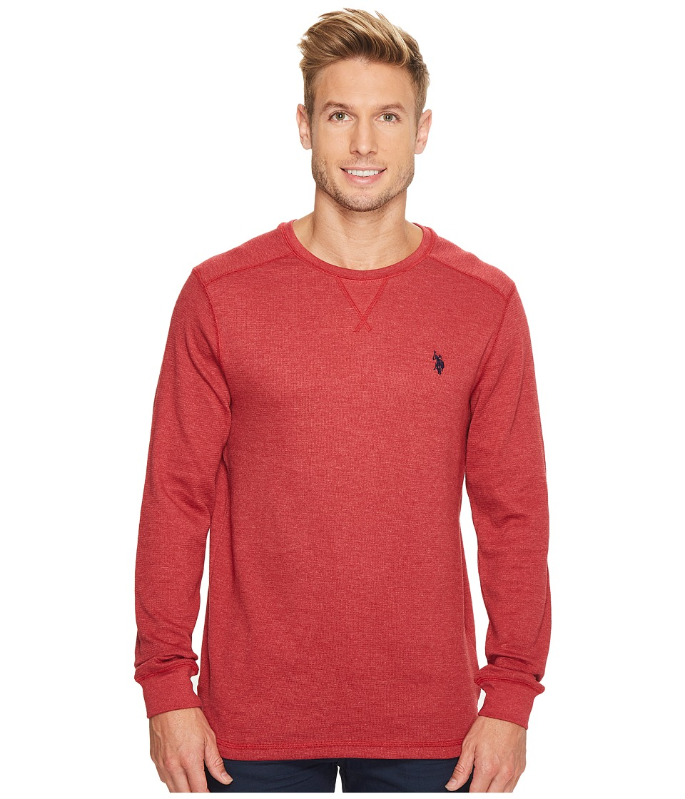 U.S. POLO ASSN. - Classic Fit Solid Long Sleeve Crew Neck Shirt (Red Heather) Men's Clothing
