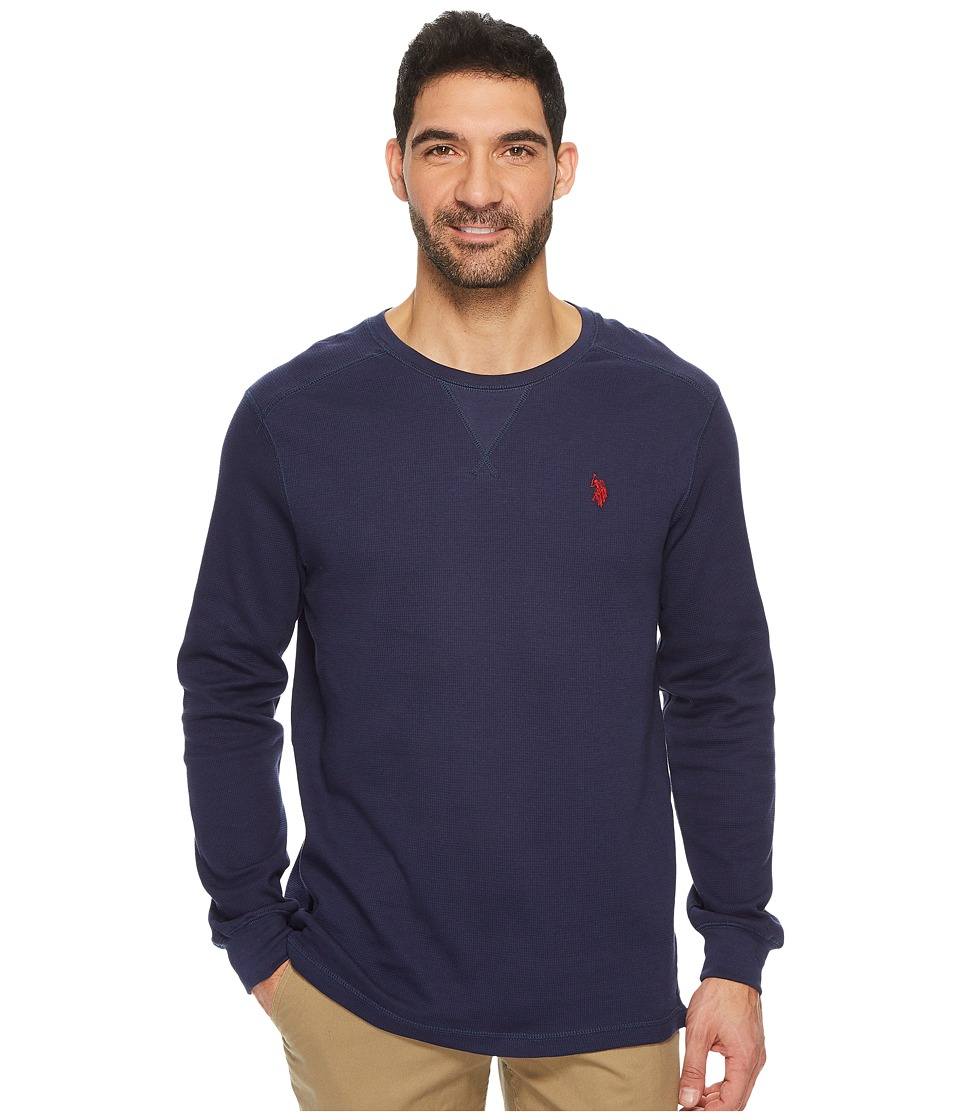U.S. POLO ASSN. - Classic Fit Solid Long Sleeve Crew Neck Shirt (Classic Navy) Men's Clothing