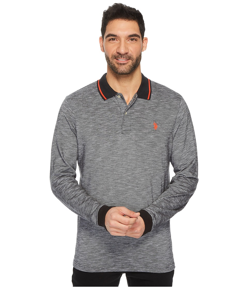 U.S. POLO ASSN. - Classic Fit Solid Long Sleeve Pique Polo Shirt (Black) Men's Long Sleeve Pullover