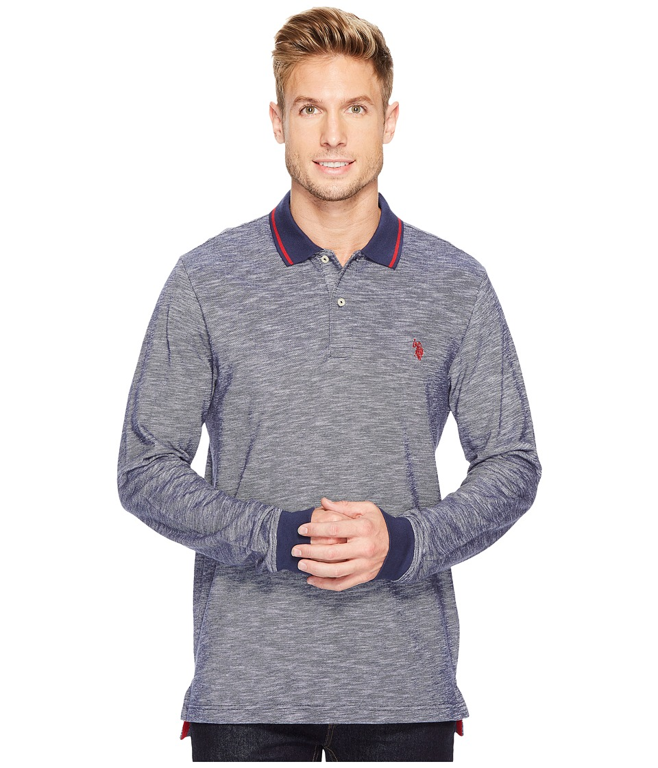 U.S. POLO ASSN. - Classic Fit Solid Long Sleeve Pique Polo Shirt (Classic Navy) Men's Long Sleeve Pullover