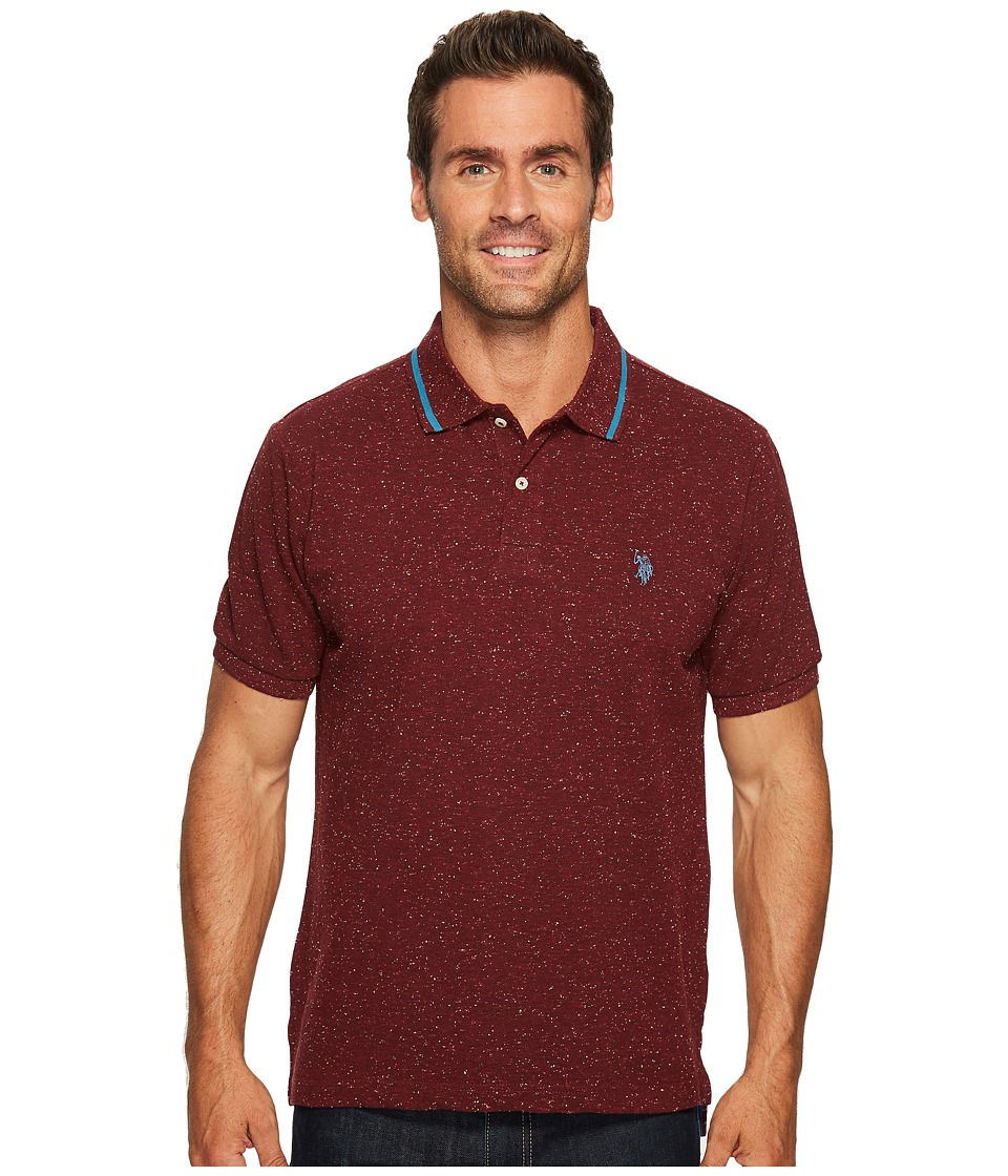 U.S. POLO ASSN. - Classic Fit Solid Short Sleeve Pique Polo Shirt (Burgundy Heather) Men's Short Sleeve Pullover