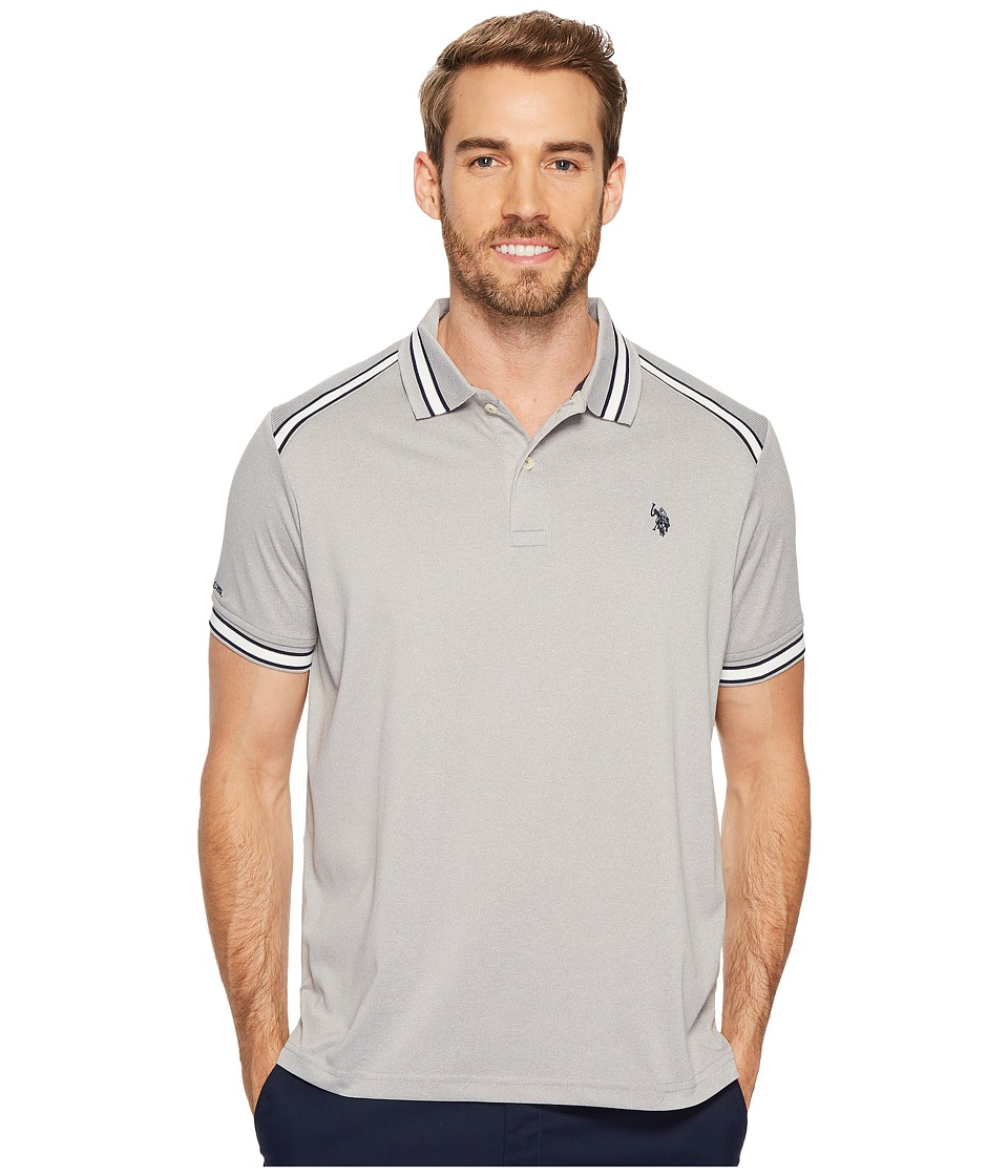 U.S. POLO ASSN. - Classic Fit Solid Short Sleeve Poly Pique Polo Shirt (Heather Grey) Men's Short Sleeve Pullover