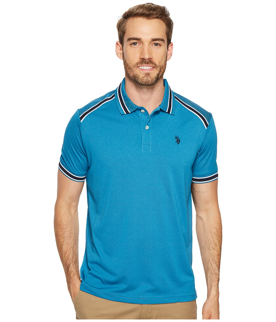 U.S. POLO ASSN. - Classic Fit Solid Short Sleeve Poly Pique Polo Shirt (Medium Blue Heather) Men's Short Sleeve Pullover