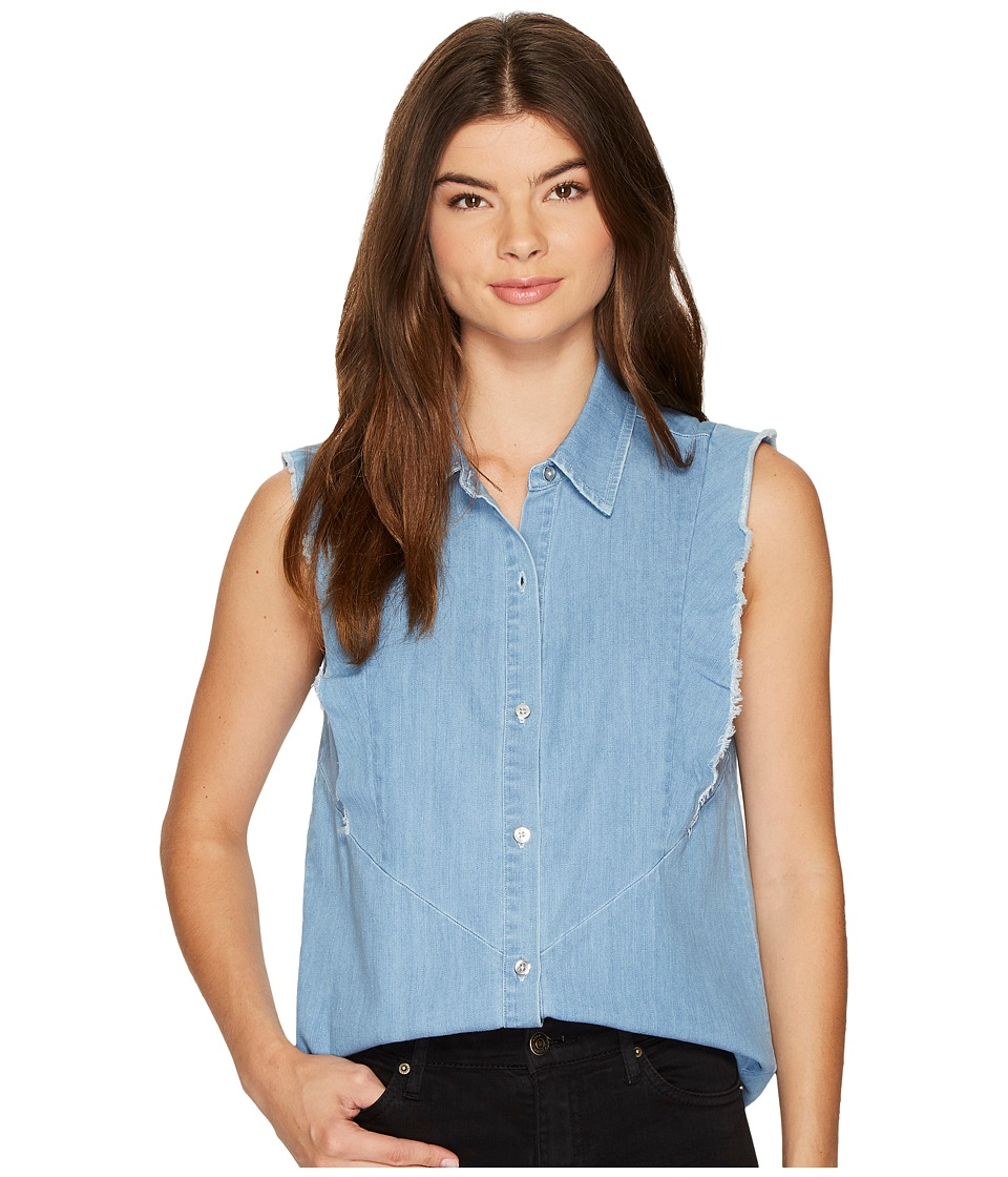 7 For All Mankind - Sleeveless Ruffled Denim Shirt in Skyway Authentic Blue (Skyway Authentic Blue) Women's T Shirt