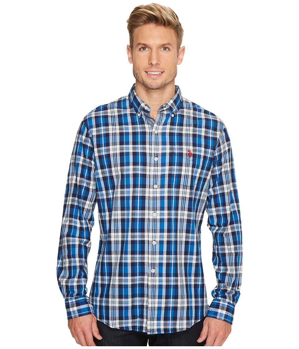 U.S. POLO ASSN. - Classic Fit Stripe, Plaid or Print Long Sleeve Sport Shirt (Classic Navy) Men's Clothing