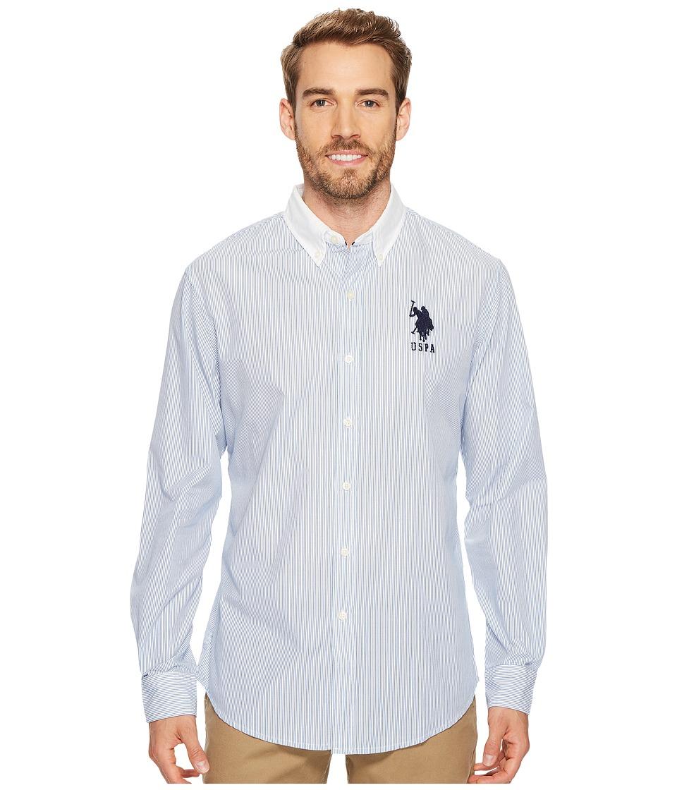 U.S. POLO ASSN. - Classic Fit Stripe, Plaid or Print Long Sleeve Sport Shirt (Blue Whale) Men's Clothing