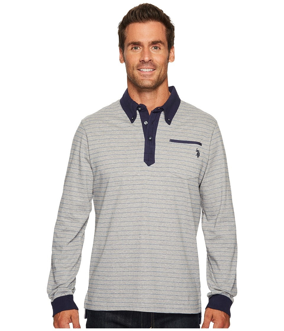 U.S. POLO ASSN. - Classic Fit Striped Long Sleeve Pique Polo Shirt (Heather Grey) Men's Long Sleeve Pullover