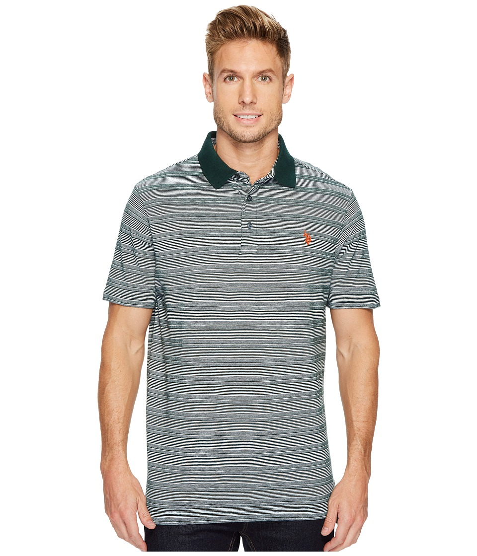 U.S. POLO ASSN. - Classic Fit Striped Short Sleeve Pique Polo Shirt (Park Green) Men's Short Sleeve Pullover
