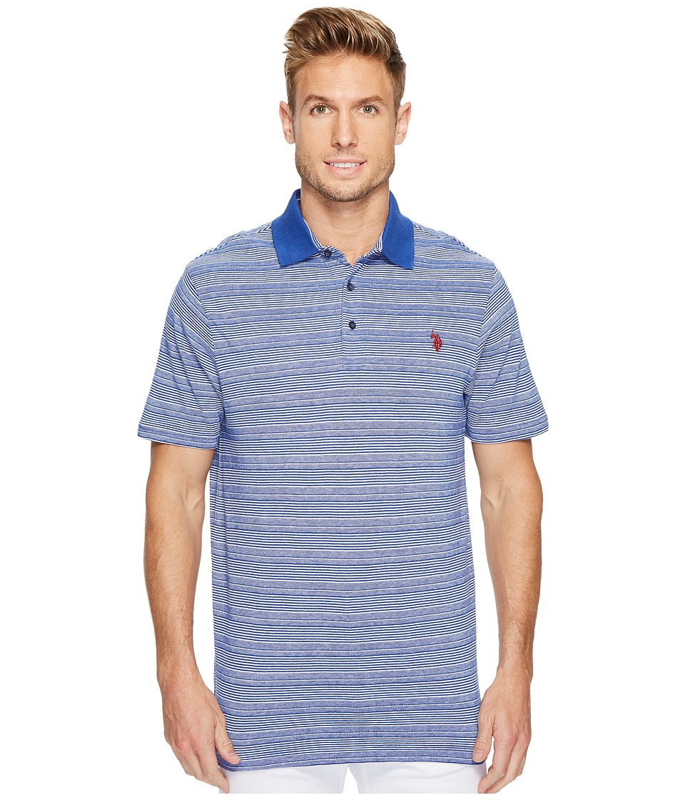 U.S. POLO ASSN. - Classic Fit Striped Short Sleeve Pique Polo Shirt (Barcelona Blue) Men's Short Sleeve Pullover