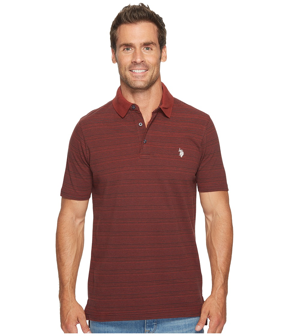 U.S. POLO ASSN. - Classic Fit Striped Short Sleeve Pique Polo Shirt (Copper Stone) Men's Short Sleeve Pullover