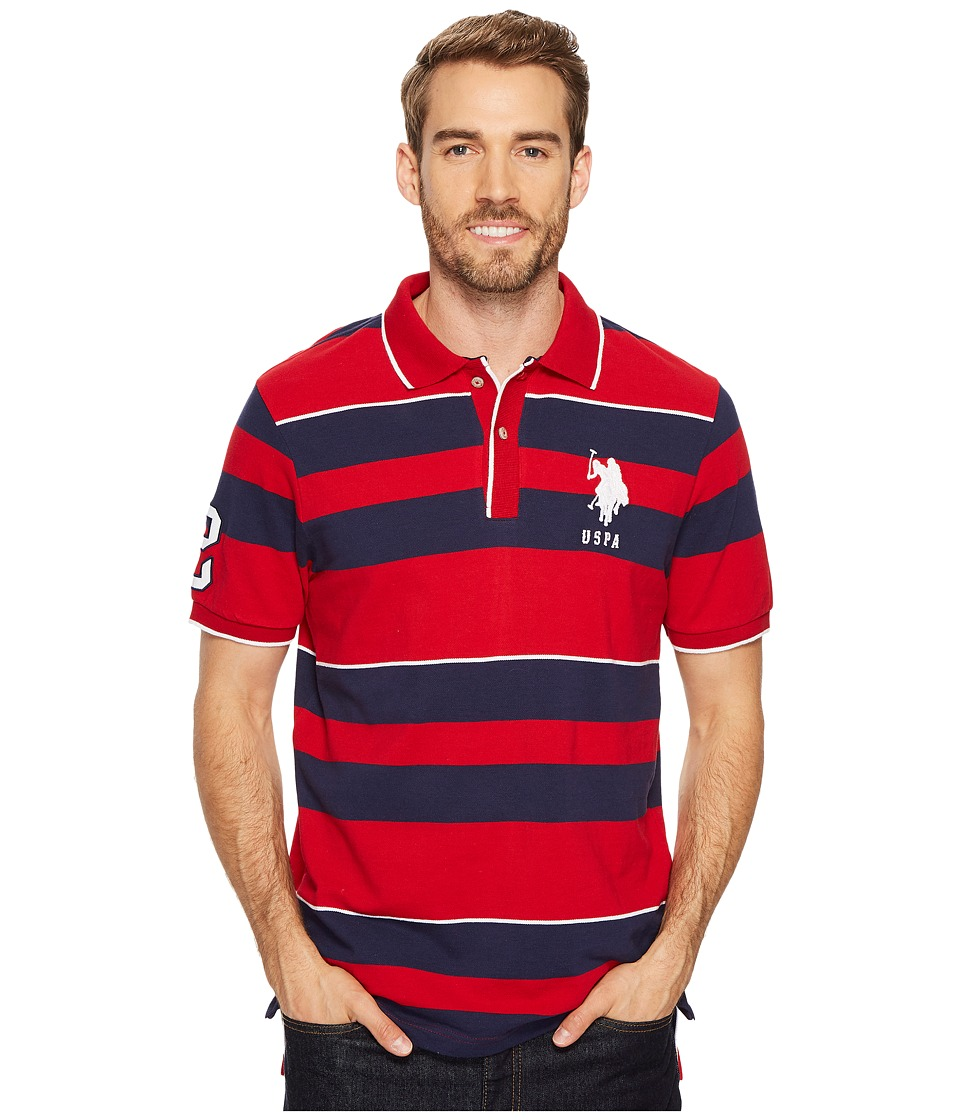 U.S. POLO ASSN. - Classic Fit Striped Short Sleeve Pique Polo Shirt (Engine Red) Men's Short Sleeve Pullover