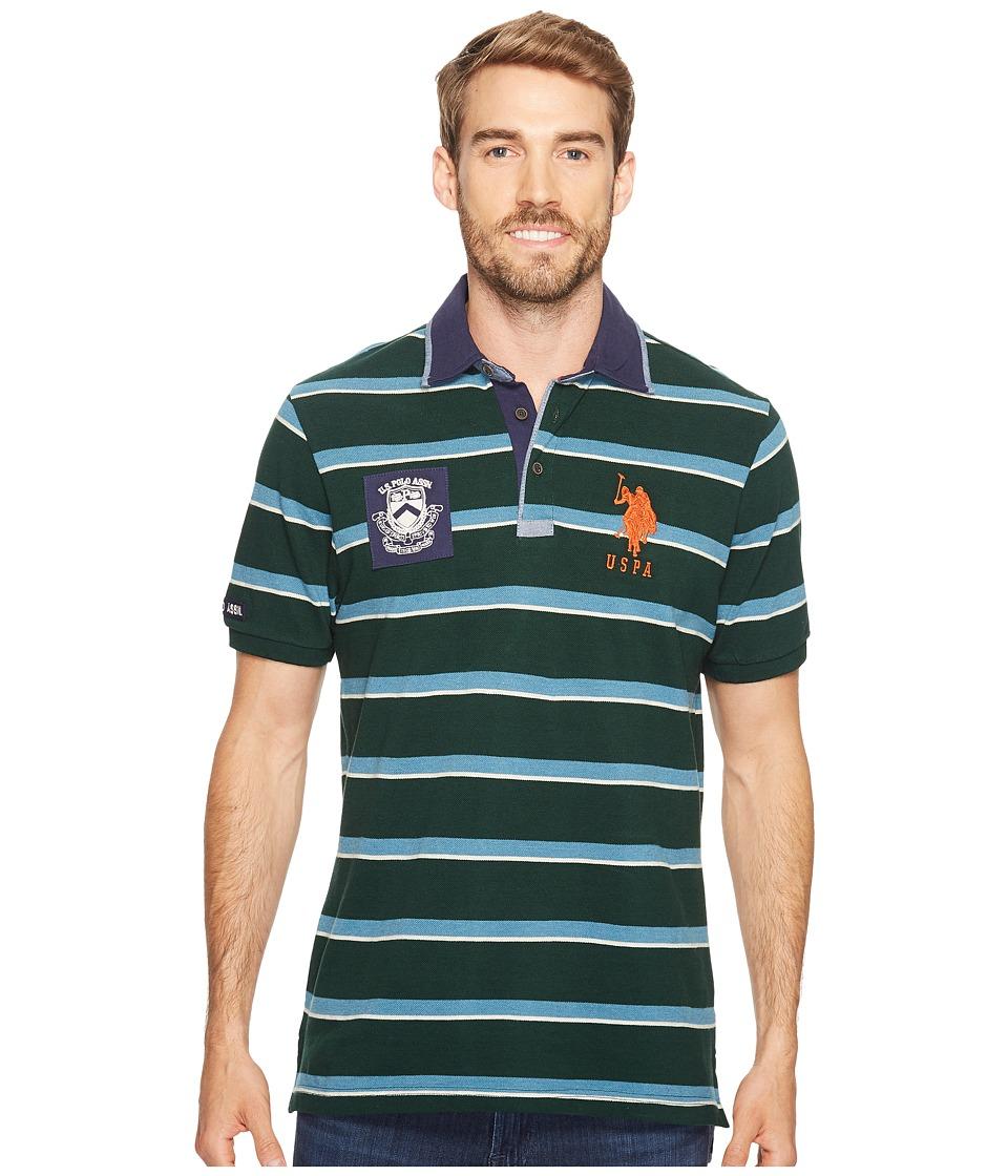 U.S. POLO ASSN. - Classic Fit Striped Short Sleeve Pique Polo Shirt (Park Green) Men's Short Sleeve Pullover
