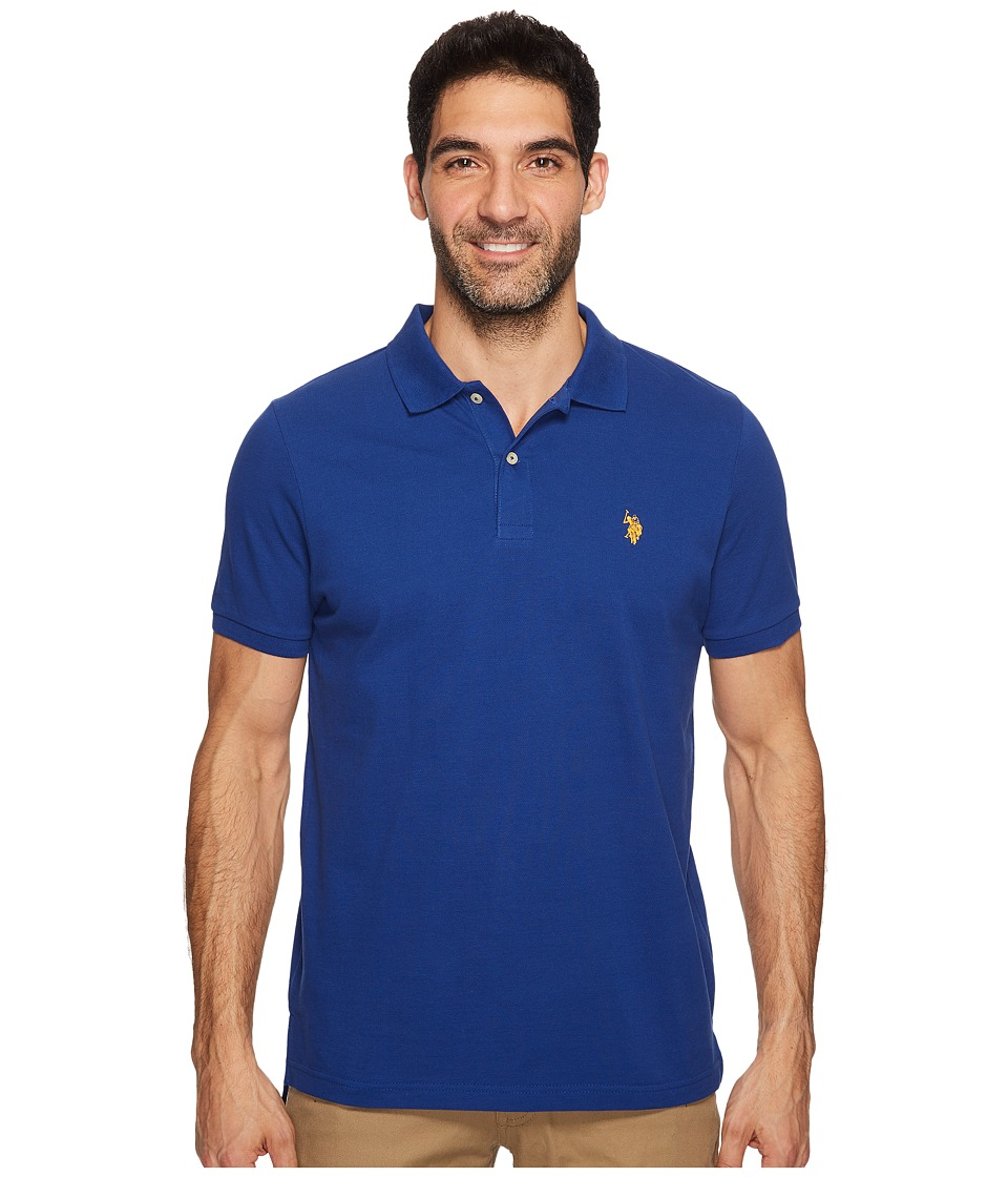U.S. POLO ASSN. - Solid Cotton Pique Polo with Small Pony (Berry Bug Combo) Men's Short Sleeve Knit