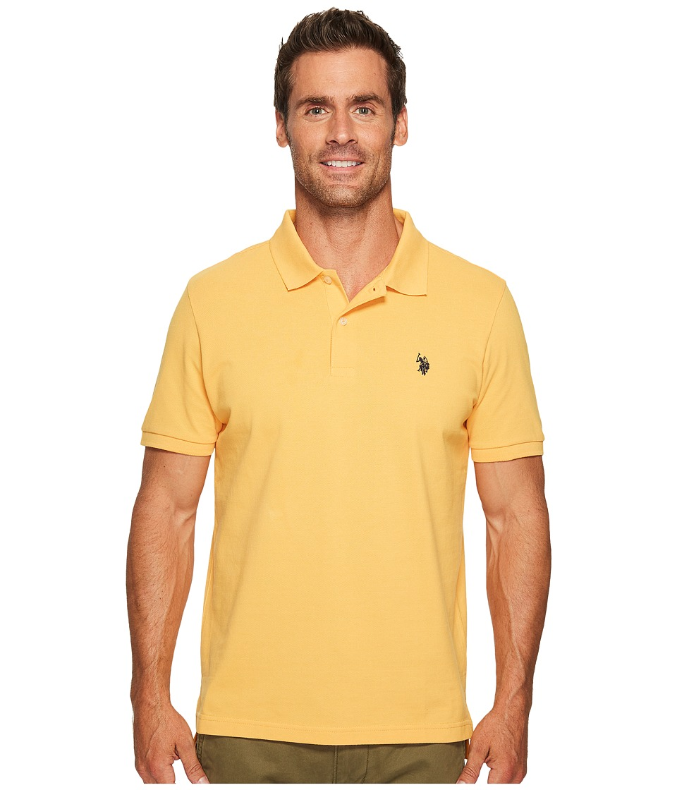 U.S. POLO ASSN. - Solid Cotton Pique Polo with Small Pony (Golden Corn) Men's Short Sleeve Knit