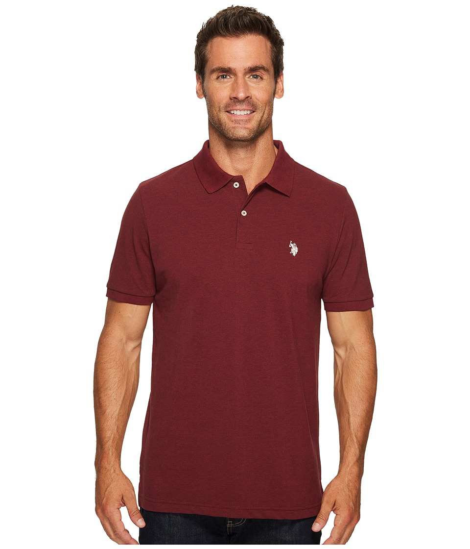 U.S. POLO ASSN. - Solid Cotton Pique Polo with Small Pony (Burgundy Heather/Winter White) Men's Short Sleeve Knit