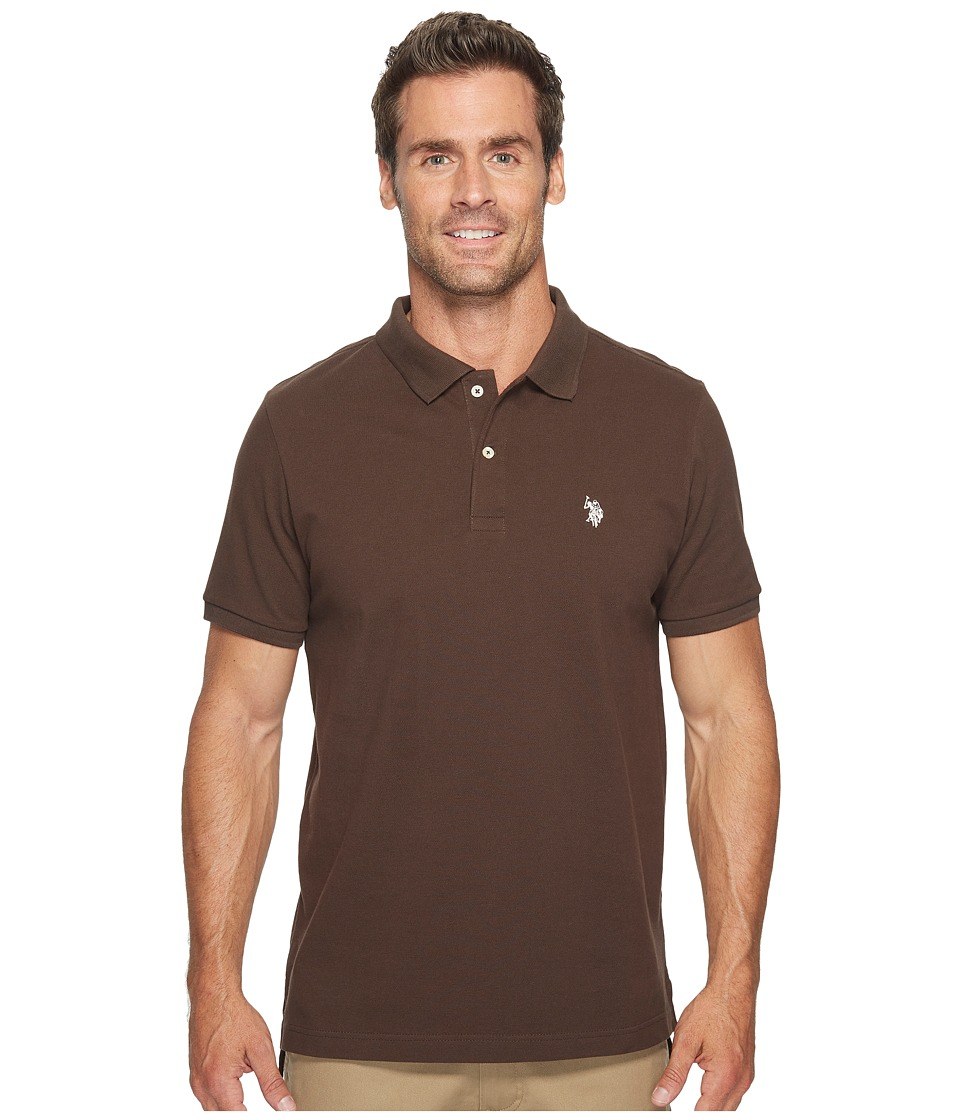 U.S. POLO ASSN. - Solid Cotton Pique Polo with Small Pony (Dark Stallion) Men's Short Sleeve Knit