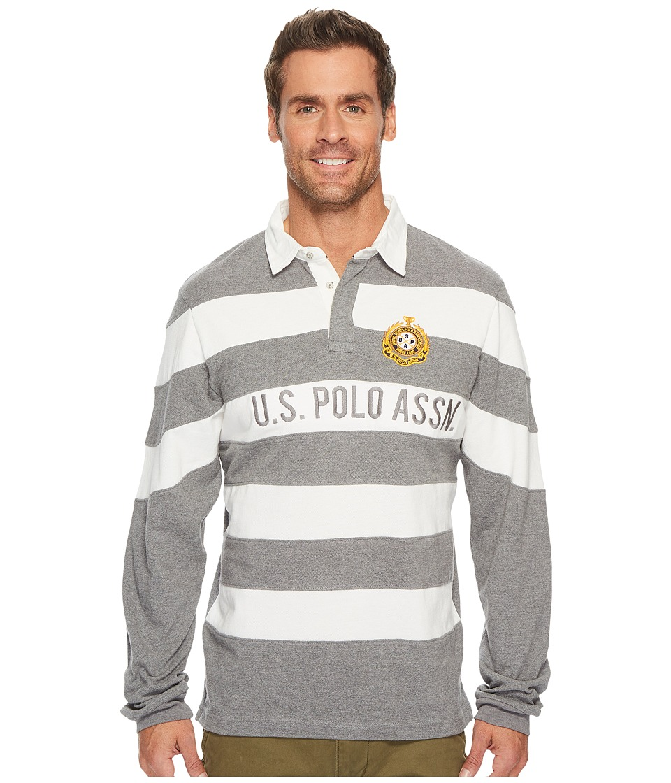 U.S. POLO ASSN. - Slim Fit Color Block Long Sleeve Pique Polo Shirt (Campus Heather Grey) Men's Long Sleeve Pullover