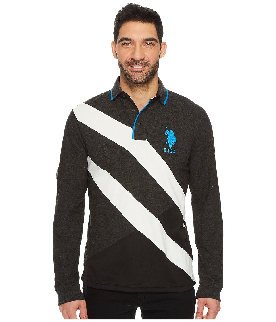 U.S. POLO ASSN. - Slim Fit Color Block Long Sleeve Pique Polo Shirt (Black Heather) Men's Long Sleeve Pullover