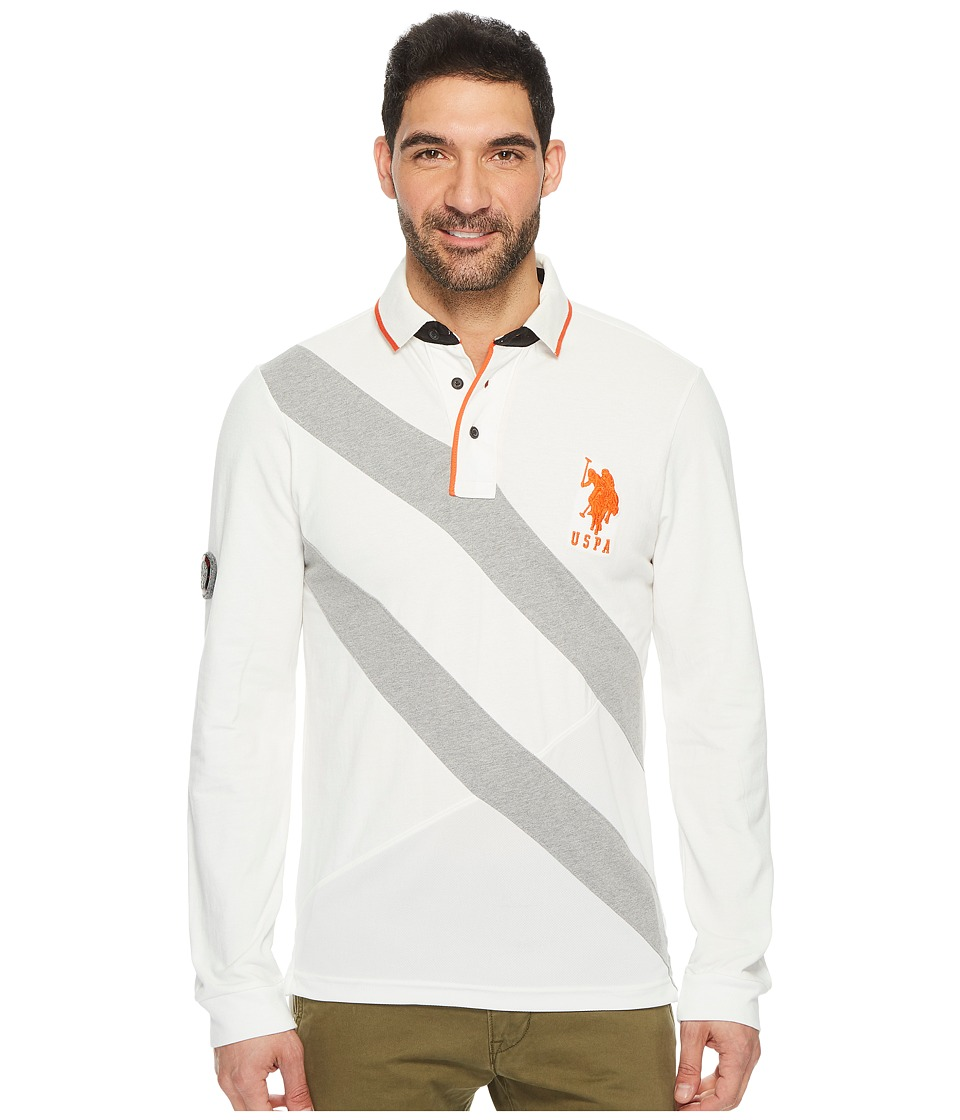 U.S. POLO ASSN. - Slim Fit Color Block Long Sleeve Pique Polo Shirt (White Winter) Men's Long Sleeve Pullover
