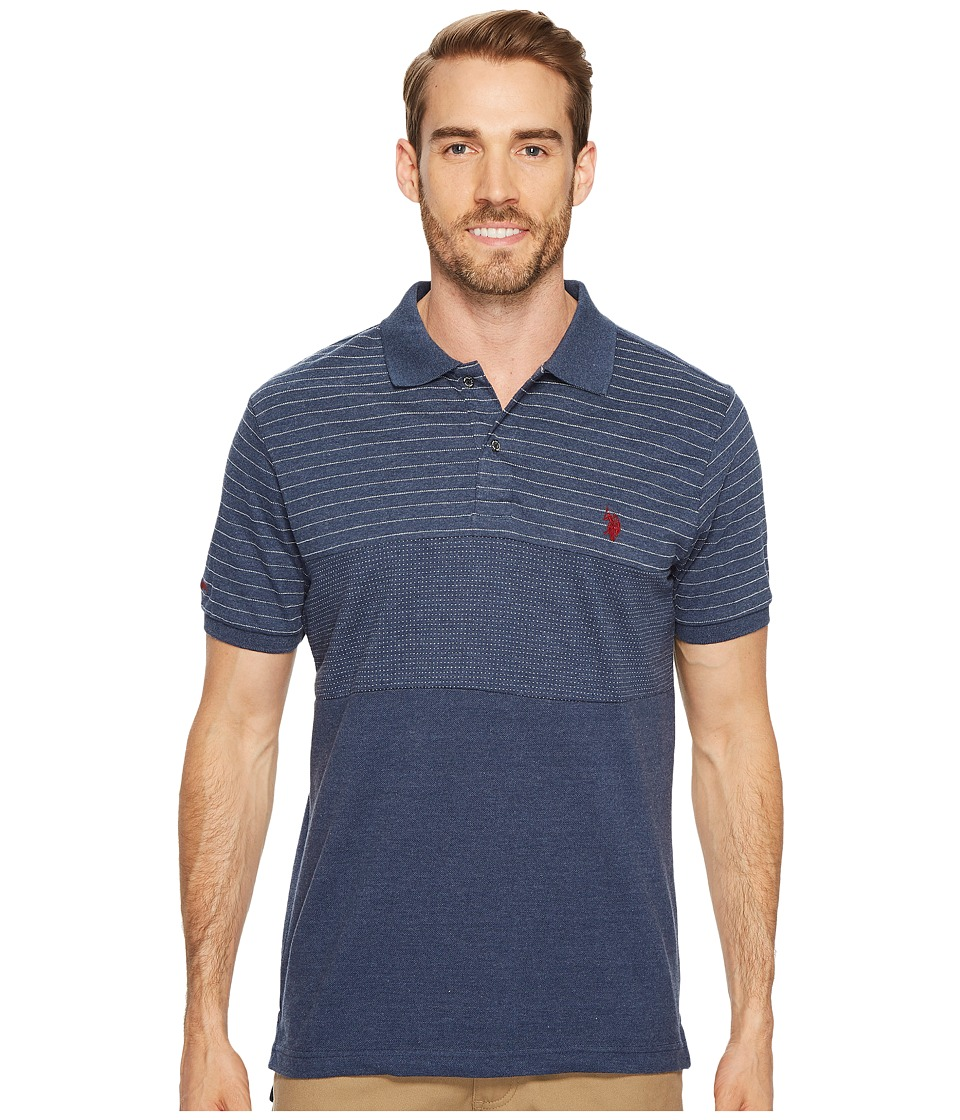 U.S. POLO ASSN. - Slim Fit Color Block Short Sleeve Pique Polo Shirt (Rinse Blue Heather) Men's Short Sleeve Pullover