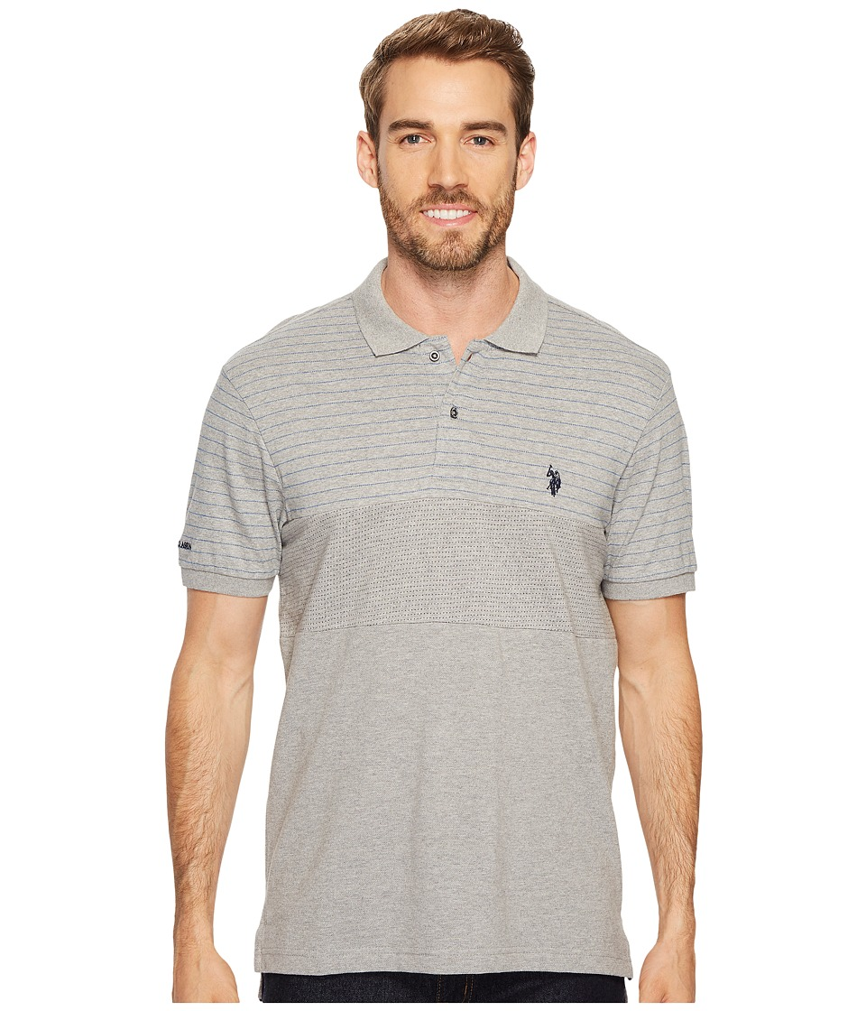 U.S. POLO ASSN. - Slim Fit Color Block Short Sleeve Pique Polo Shirt (Heather Grey) Men's Short Sleeve Pullover