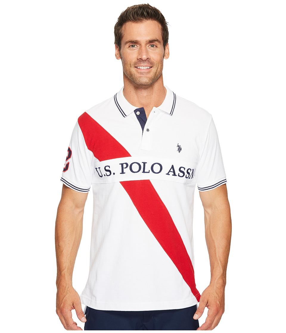 U.S. POLO ASSN. - Slim Fit Color Block Short Sleeve Pique Polo Shirt (White) Men's Short Sleeve Pullover