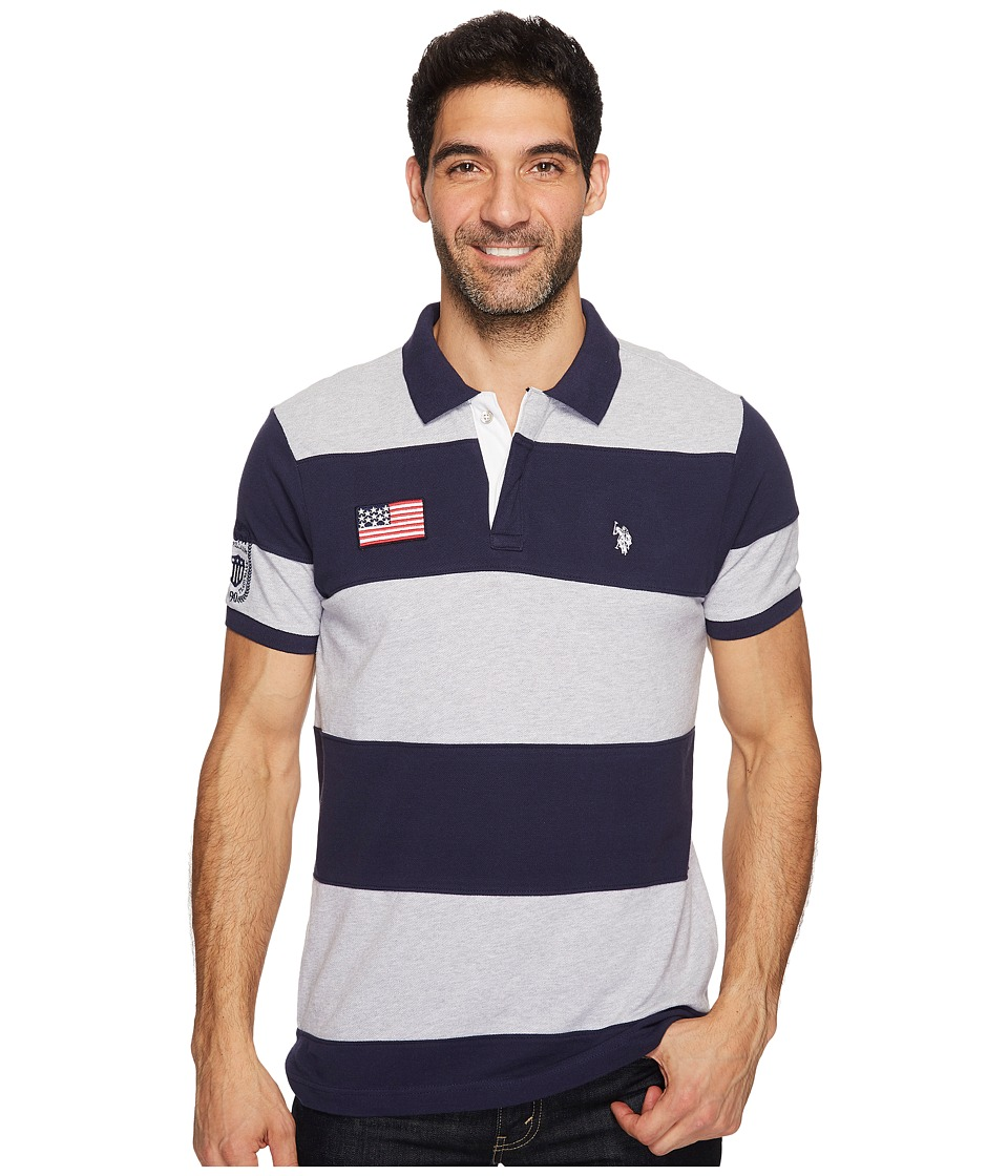 U.S. POLO ASSN. - Slim Fit Color Block Short Sleeve Pique Polo Shirt (Light Heather Gray) Men's Short Sleeve Pullover