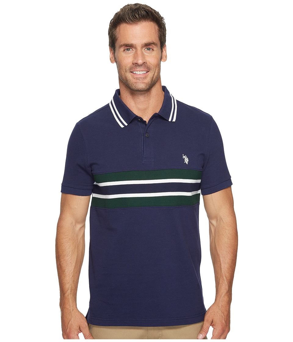 U.S. POLO ASSN. - Slim Fit Color Block Short Sleeve Pique Polo Shirt (Classic Navy) Men's Short Sleeve Pullover