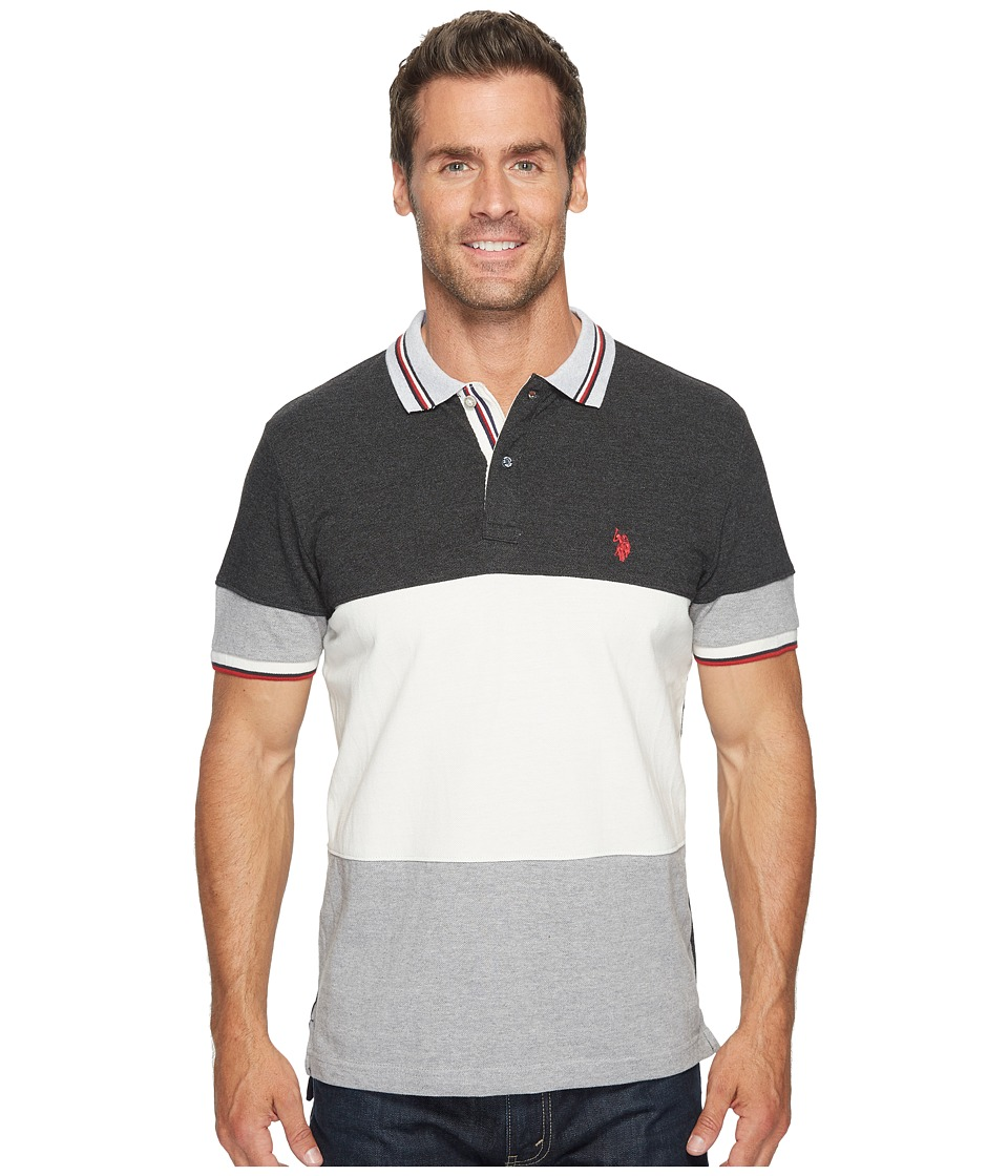 U.S. POLO ASSN. - Slim Fit Color Block Short Sleeve Pique Polo Shirt (Black Heather) Men's Short Sleeve Pullover