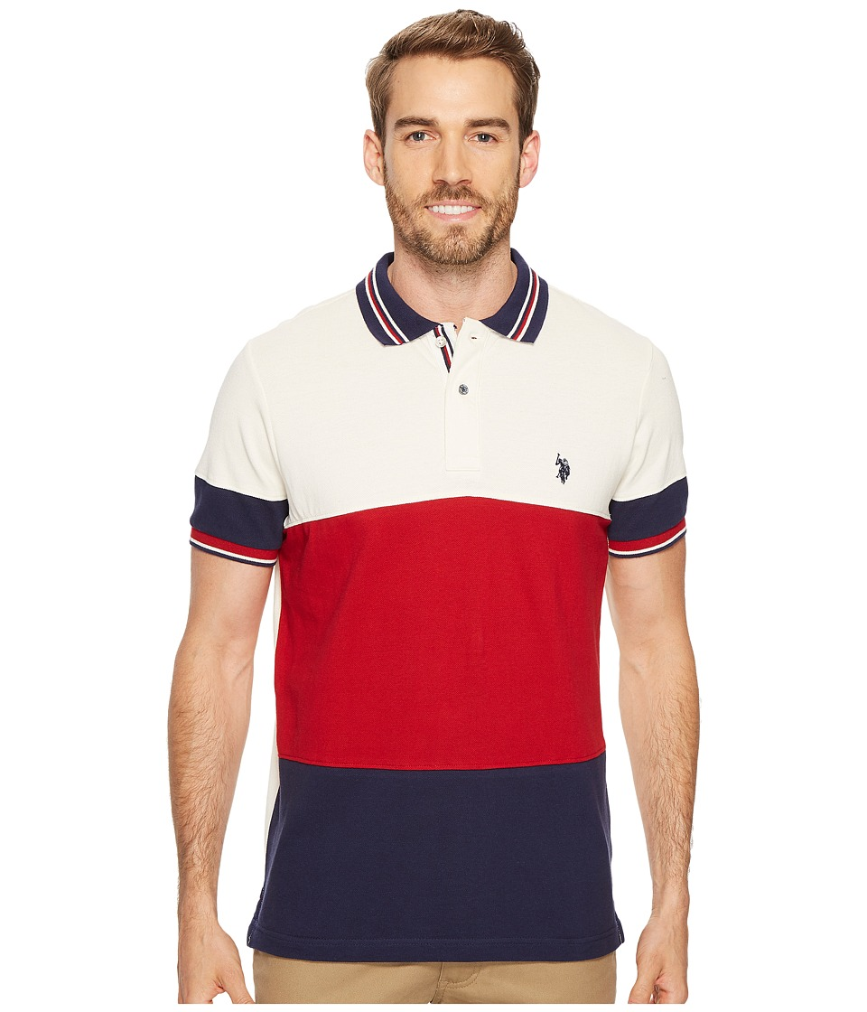 U.S. POLO ASSN. - Slim Fit Color Block Short Sleeve Pique Polo Shirt (Apple Cinnamon) Men's Short Sleeve Pullover