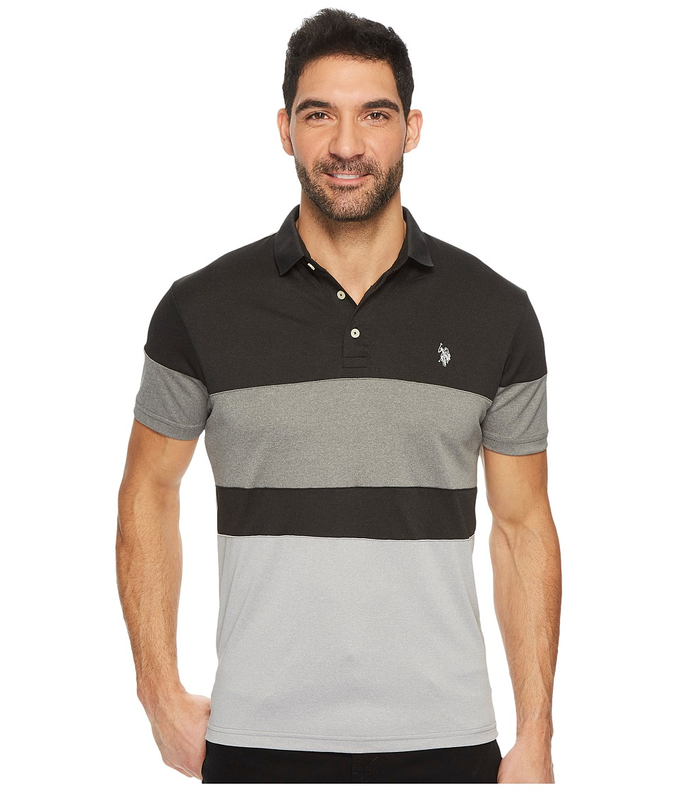 U.S. POLO ASSN. - Slim Fit Color Block Short Sleeve Poly Jersey Polo Shirt (Black Heather) Men's Short Sleeve Pullover