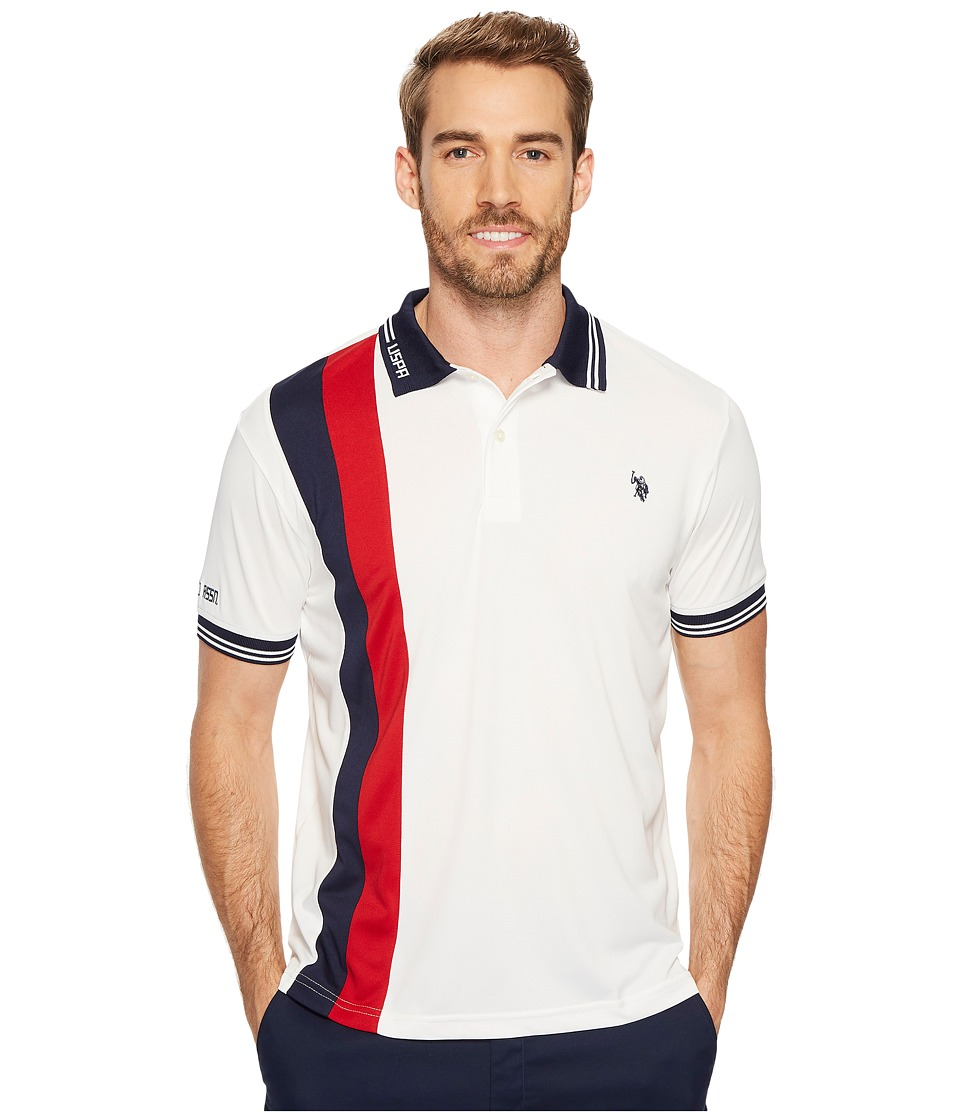 U.S. POLO ASSN. - Slim Fit Color Block Short Sleeve Poly Pique Polo Shirt (White Winter) Men's Short Sleeve Pullover