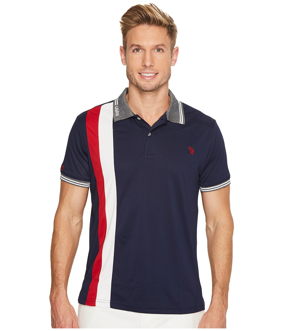 U.S. POLO ASSN. - Slim Fit Color Block Short Sleeve Poly Pique Polo Shirt (Classic Navy) Men's Short Sleeve Pullover