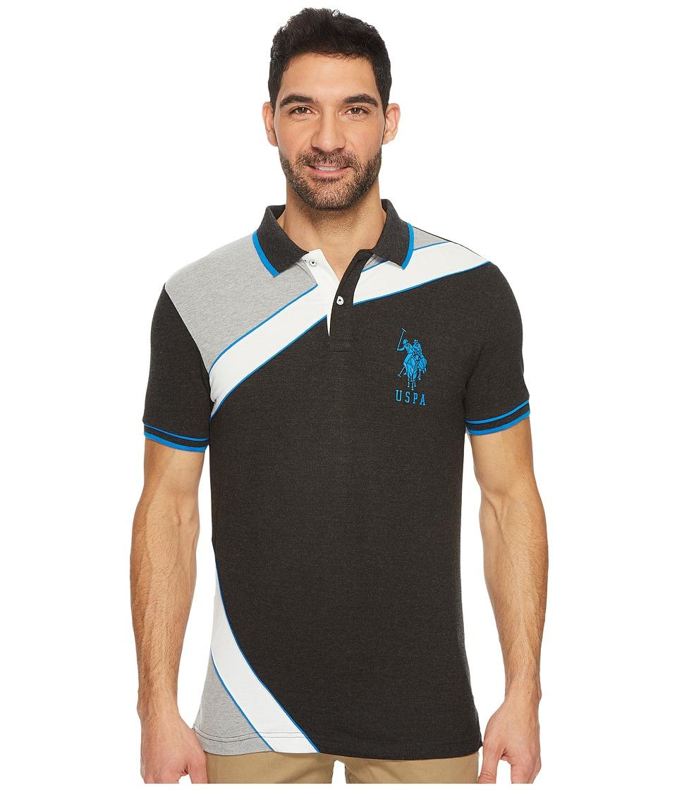 U.S. POLO ASSN. - Slim Fit Color Block Short Sleeve Stretch Pique Polo Shirt (Black Heather) Men's Short Sleeve Pullover