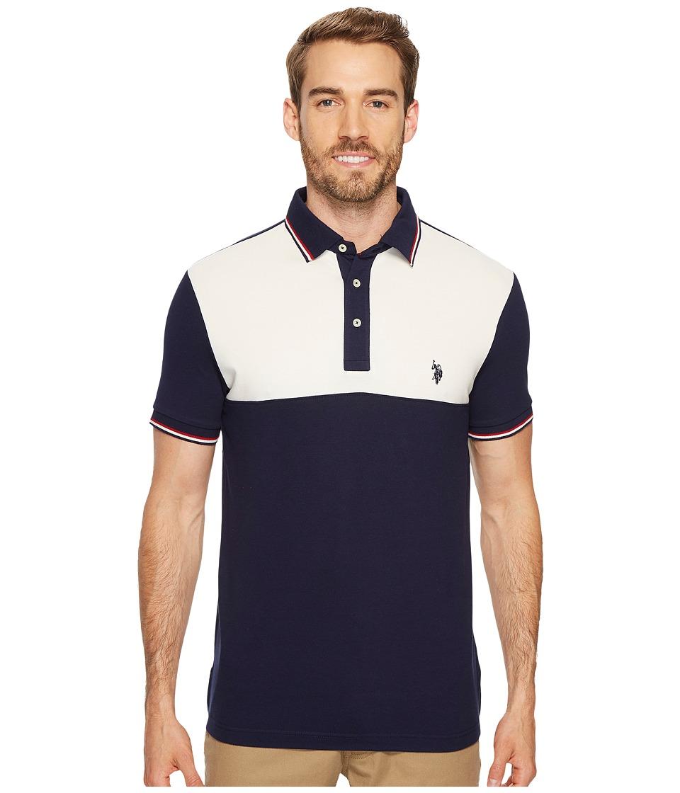 U.S. POLO ASSN. - Slim Fit Color Block Short Sleeve Stretch Pique Polo Shirt (Classic Navy) Men
